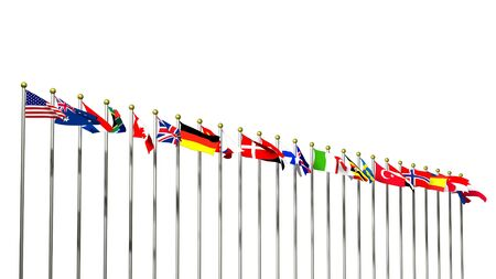 World Flags on a White background 3D