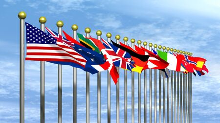 World Flags with a Blue Sky Background Stock Photo