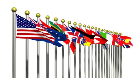World Flags on a White Background Stock Photo - 4471115