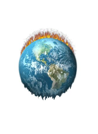Earth On Fire Melting on a white background photo