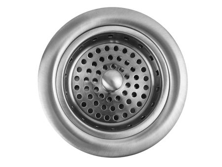 Stainless steel kitchen sink drain on white background Stock Photo