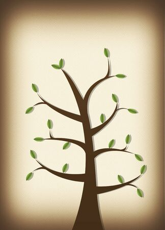 Tree on parchment background with leaves illustration Zdjęcie Seryjne - 4718854
