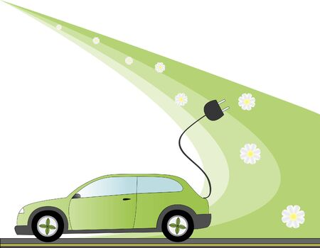Electric car illustration with environmental green concept