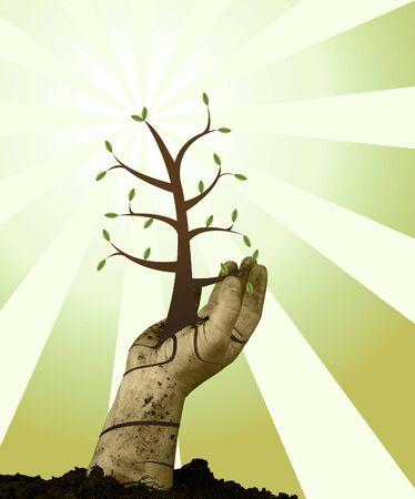 handing: Human handing helping green grow with grunge background Stock Photo