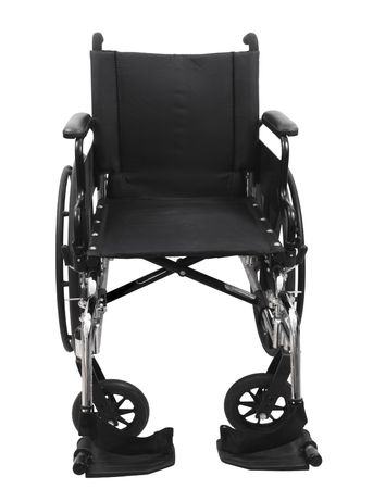 Black wheel chair on an isolated white background