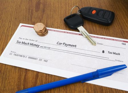 expensive: Car Payment too much check concept with keys