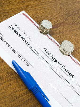 much: Child Support Payment Check too much money concept