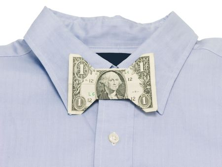 Money bow tie on a blue shirt