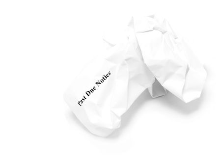 past due: Crumpled past due notice on white background