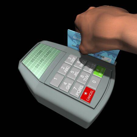 Hand swiping card on credit terminal Фото со стока