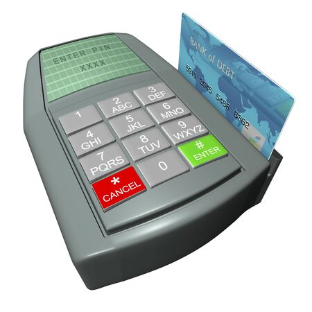 Credit card in terminal on a white background Banco de Imagens