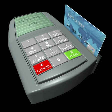 Credit card in terminal on a black background