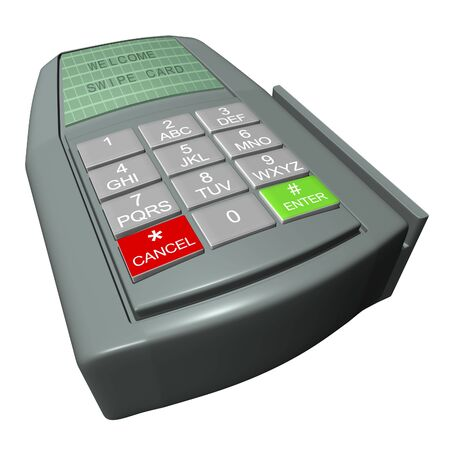 Credit card terminal on a white background