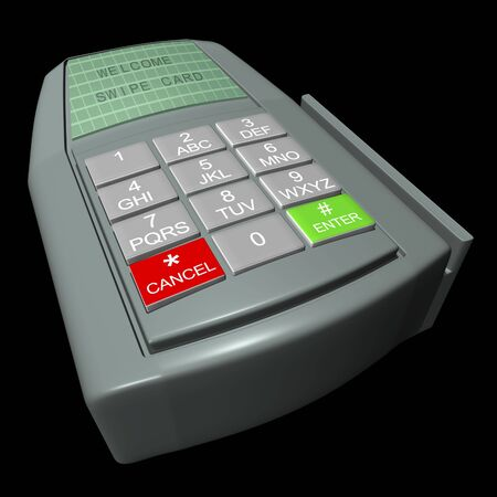 Credit card terminal on a black background