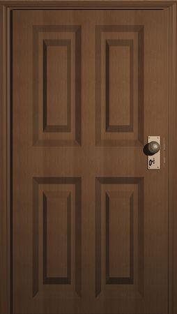 鍵穴と木製のドアの 3 D イラストレーション