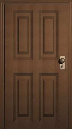 3D illustration of a wooden door with keyhole Stock fotó - 5022374