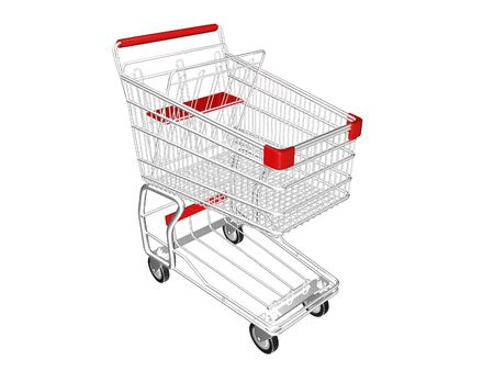 Metal Shopping Cart on a White Background