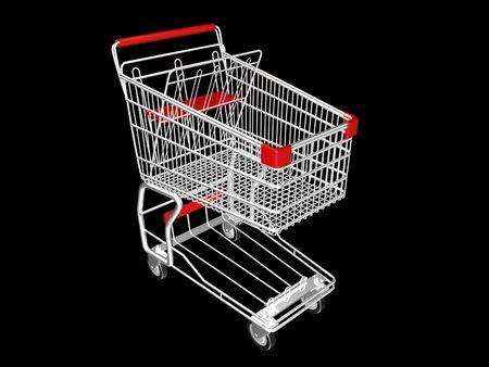 金属の黒の背景にショッピングカート