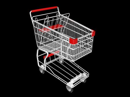 Metal Shopping Cart on a Black Background