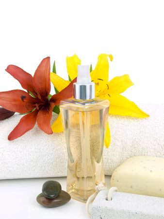 Spa background with perfume on a white background