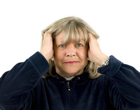 agitated: Upset Senior Woman on a white Background