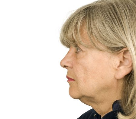 Senior woman profile on a white background