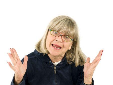 Senior woman agrily explaining on a white background