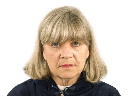 stern: Upset Senior Woman on a white Background