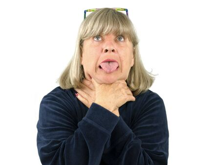 Senior woman choking on a white background