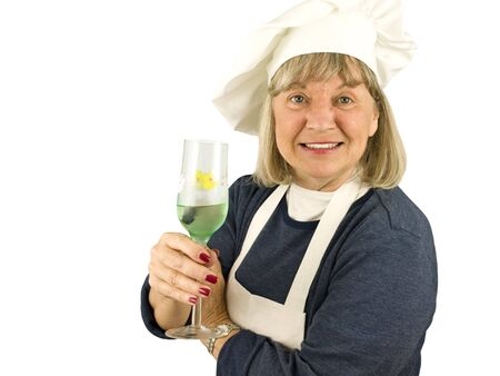 Senior Chef with Wine on a White Background Imagens