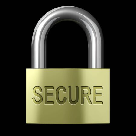 secure: Closed Secure Lock on a black background