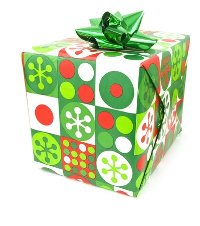 Single Present on a white background with bow Imagens