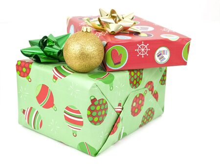 presents with bauble on a white background Imagens