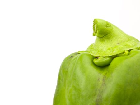 Green bell pepper top on a white background Imagens