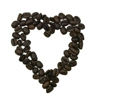 Coffee Bean Heart on a white background Imagens