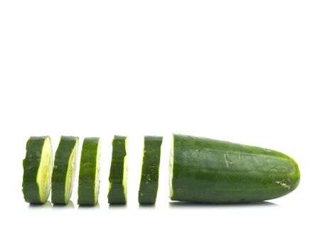 Green Sliced Cucumber on a white Background