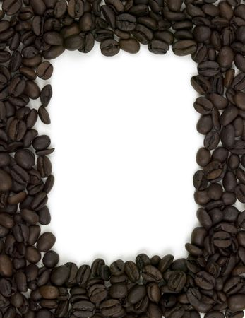 Coffee bean boarder on a white background Imagens