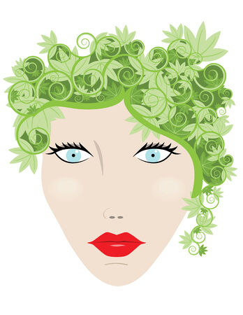 Woman with leaves for hair in a concept illustration Ilustração