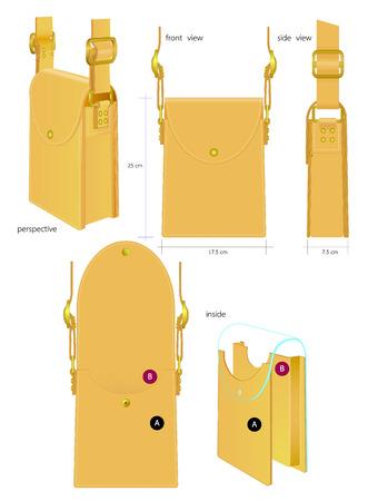 seam: leather bag Illustration
