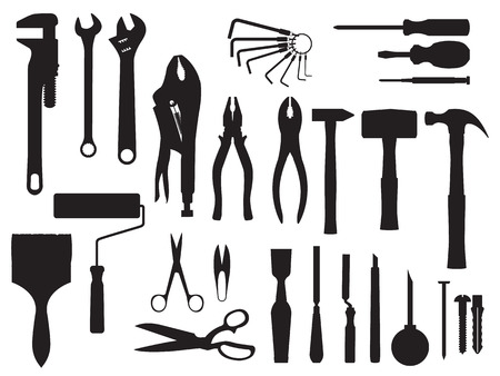 gouge: fix and tools black and white Illustration