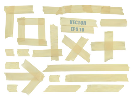 Set of various adhesive tape pieces.
