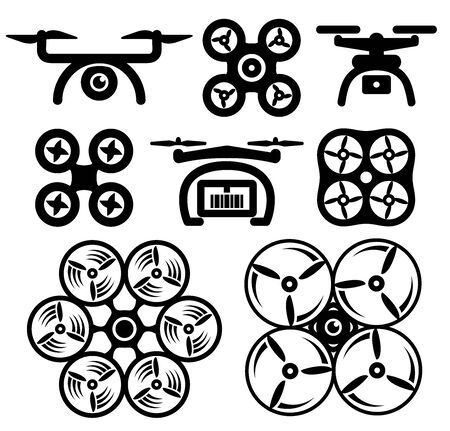 Set of drone icons. 向量圖像