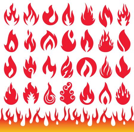 pasion: Conjunto de Iconos de la llama. s�mbolos de fuego. Vectores