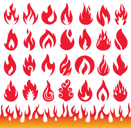 flames icon: Set of Flame icons. Fire symbols.