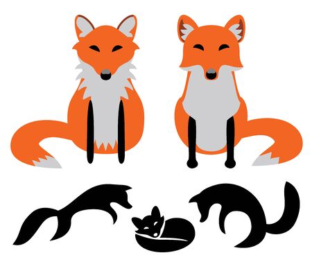 Set of Foxes. Vector illustration.