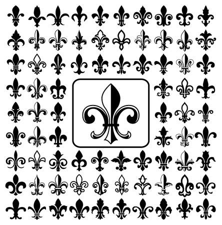 Set of Fleurs-de-lis icons.  Illustration
