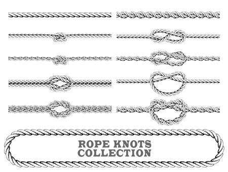 Noeuds de corde collection. Pronation, figure de huit et noeud carré. Éléments décoratifs sans soudure. Vector illustration.