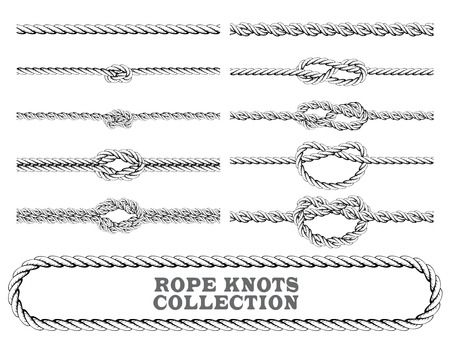 Rope knots collection. Overhand, Figure of eight and square knot. Seamless decorative elements. Vector illustration. Stock Illustratie