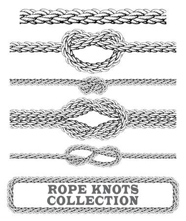 n?uds de corde collection. Overhand, figure de huit et noeud carré. éléments décoratifs sans soudure. Vecteurs
