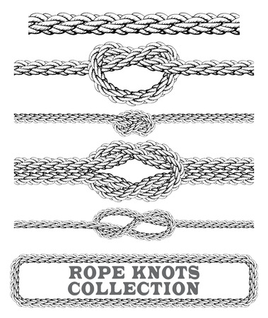 overhand: Rope knots collection. Overhand, Figure of eight and square knot. Seamless decorative elements.